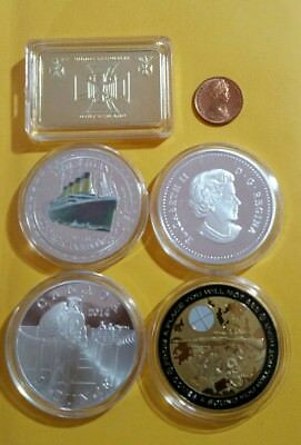 Bulk Lot 1Oz Tokens / Coins Gold , Silver Plated Included + 1980 1 Cent Coin