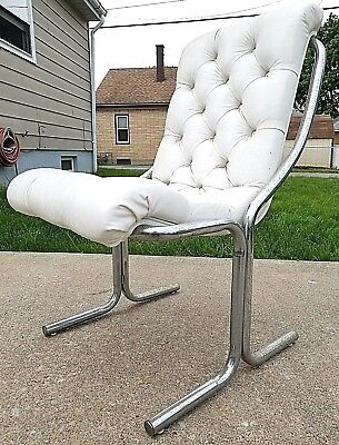 Vintage Daystrom Mid Century Modern Chrome Puffy White Tufted Vinyl Sling Chair