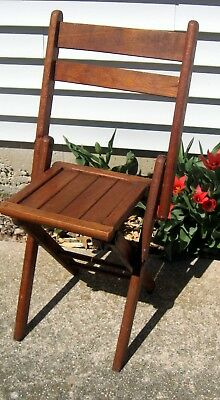 Vtg Antique Oak Wood Slat folding chair Columbia woodenware Brooklyn NY child