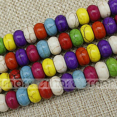 "Synthetic Turquoise Mixed Color Round Flat Shape Spacer Bead 15.5"" Inches Strand"