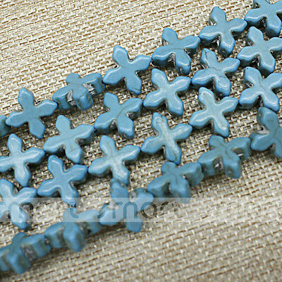 "Blue Cross Shape Synthetic Turquoise Loose Beads 15.5"" Inches Strand 15x15mm"