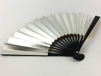 Vintage Kyoto Japanese Gold & Silver Black Lacquered Bamboo Folding Fan: May18F