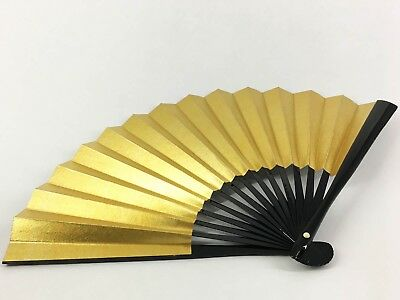 Vintage Kyoto Japanese Gold & Silver Black Lacquered Bamboo Folding Fan: May18G