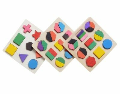 Kids Baby Wooden Learning Geometry Educational Toys Puzzle Montessori HCXM