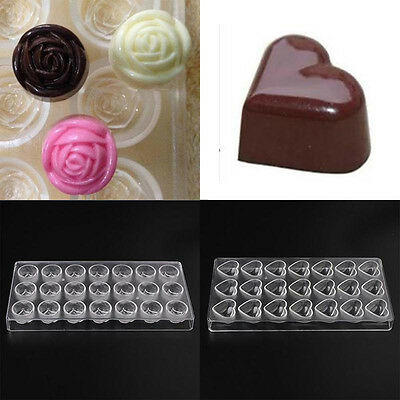Mold Clear Polycarbonate 3D Chocolate Candy Jelly Hard Tray Pastry Device Moulds