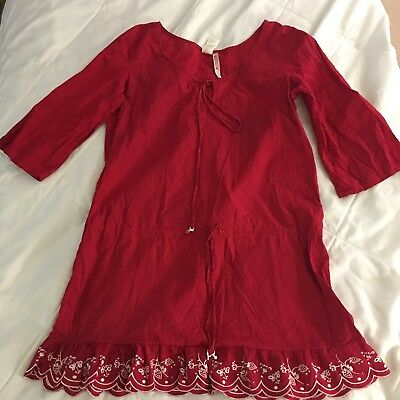 Juicy Couture Beach Royalty SZ M Red BOHO style Shirt
