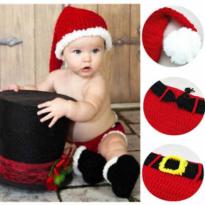 Christmas Santa Style Newborn Baby Crochet Knitted Costume Hat Outfit Clothes