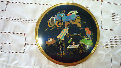 Vintage Retro Picnic Couple Hot Rod Goldtone/Enamel Metal Mirror/Powder Compact