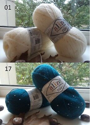 Yarn Alize Angora Gold Star payette yarn sequins yarn mohair yarn beaded yarn