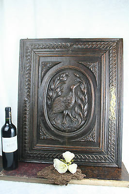 Antique Wood carved hunting bird door cabinet panel black forest 1920 NO1