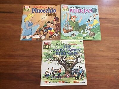Walt Disney Read along books- Pinocchio, Peter Pan and The Swiss Family Robinson