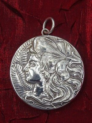 Antique Art Nouveau Gypsy Lady Sterling Silver Vanity Mirror Pendant