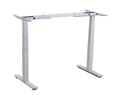 Electric Sit Stand Up Office Desk Adjustable Height Frame 2 Motors Memory White