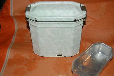 Vtg GREEN SPLATTER WARE French METAL LUNCH PAIL BOX PAIL w/TRAY ENAMEL WARE