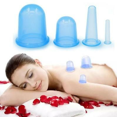 Silicone Massage Cup Vacuum Cupping Anti Cellulite Body Facial Cups Therapy 4pcs