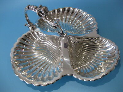 Stunning Large Antique Silver Plate Caviar Dish With Griffin Dragon Head Handle