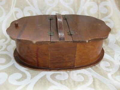 Vintage/Antique Wooden Oval Double Flapped Lid Handled Sewing Box