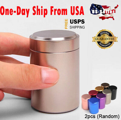 2PCS Stash Jar-Airtight Smell Proof Container-New Aluminum Herb Jar USA STOCK