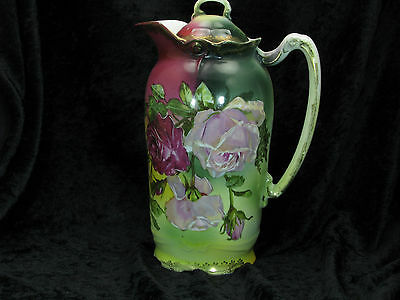 Antique Porcelain Coffee or Chocolate Pot, Hand Painted, Makers Mark S
