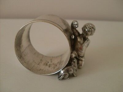 Antique Wmf Boy Playing With Cat Silver Plated Napkin Ring