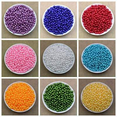 100PCS Pearl Spacer Beads Craft ABS Plastic Loose Beads DIY  6mm 8mm 20 Colors