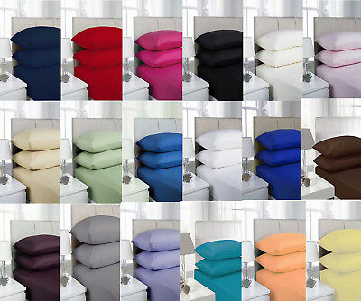 Soft Plain Polycotton Percale Fitted Sheets Sing, Double, King, Super King