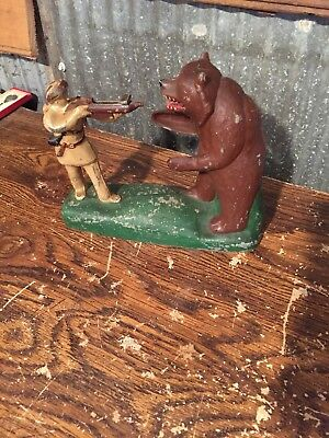 Vintage Davy Crockett Shoot-A-Bar Bank! Cast Aluminum 1955