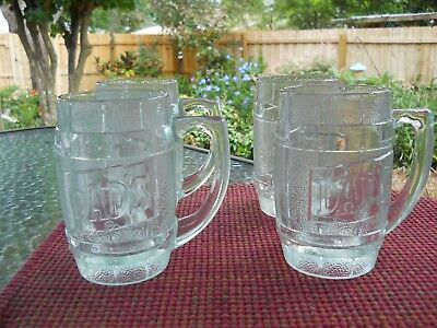 4 Dad's Root Beer Glass Mugs  10 oz. 5 1/2 inches tall - Barrel design with logo