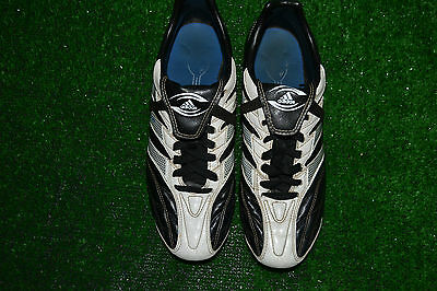 RARE BLACK & WHITE LEATHER ADIDAS REGULATE RUGBY BOOTS size 8 MADE IN INDONESIA