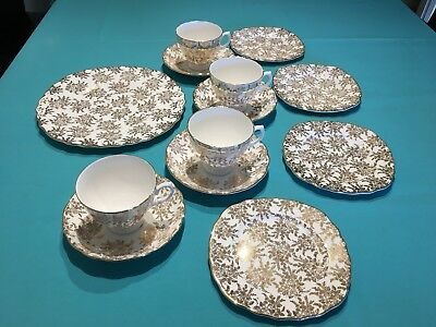 Royal Vale Bone China Gold Chinz Flowers 4 place tea set with spare cup