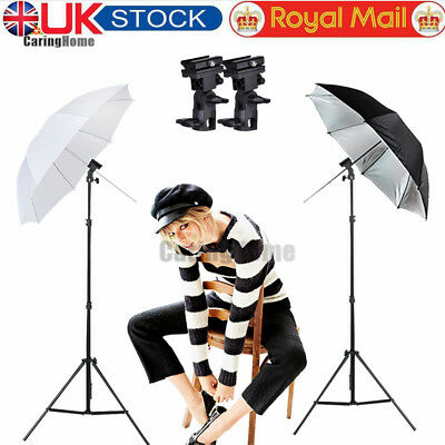 Photography Flash Speedlight Umbrella Lighting Light Stand 2 Bracket Mount B Kit