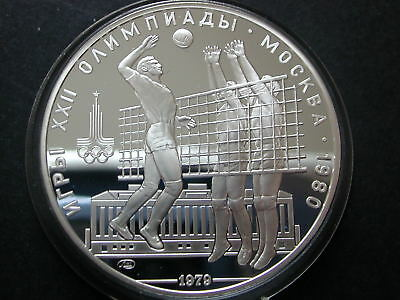 Russland - 10 Rubel 1979 - Moscow 1980 - Volleyball - PP - Silber Münze