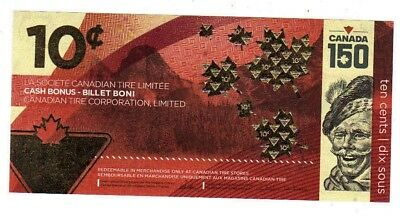 2017 Canadian Tire limited edition CANADA 150 ANNIVERSARY 10c bill 1501688615