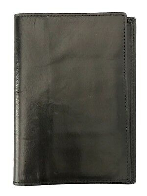Pre-owned Vintage Coach Black Water Buffalo Leather Travel Wallet Passport Case