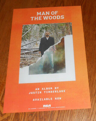 Justin Timberlake Man of the Woods Poster 2-Sided Promo Original 11x17 RARE