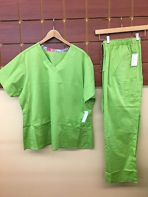 NEW Vera Bradley Green Solid Scrubs Set With 2XL Top & 2XL Petite Pants NWT