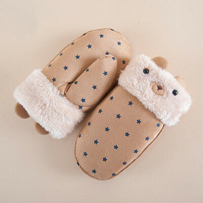 Thicken Lovely Hand Shaped Glove Suede Printed Winter Kids Children Gloves