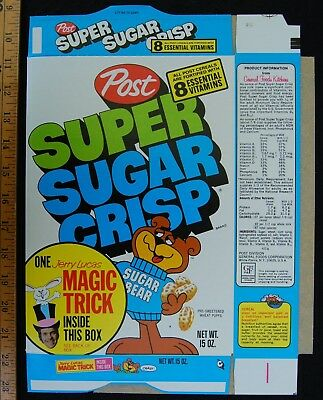 [ 1973 Post SUPER SUGAR CRISP - Vintage Cereal BOX - Jerry Lucas Magic Tricks ]