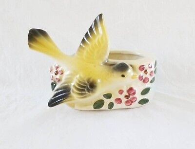 American Bisque Planter Yellow Bird Flying Gold Finch Turquoise Flower Pot