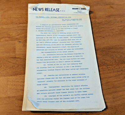 1968 Vintage News Release Aviation Collectible Report on New York Air Traffic