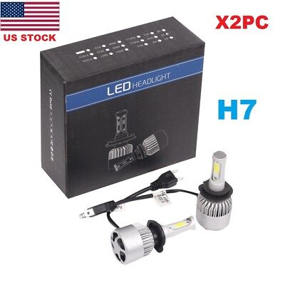 2PC H7 9005 LED 8000LM S2 LED Headlight Kit Low Beam High Power 6500K White Bulb