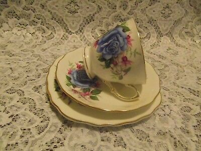ROYAL VALE BLUE ROSES AND PINK - WHITE FUCHSIA TEA CUP with SAUCER and SIDE PLA