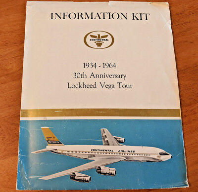 Vintage Continental Airlines Anniversary Info Press Kit Collectible Lockheed