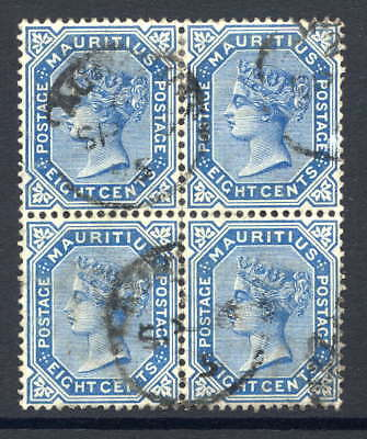 Mauritius 1883-94 8C Blue Commercially Cds Used Block Of Four. Gibbons 106.