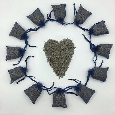 12 Organic French Lavender Sachets Dried Buds Navy Blue Bags For Closets Drawer