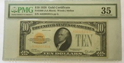 1928 $10 Gold Certificate, Pmg Choice Very Fine 35 Banknote
