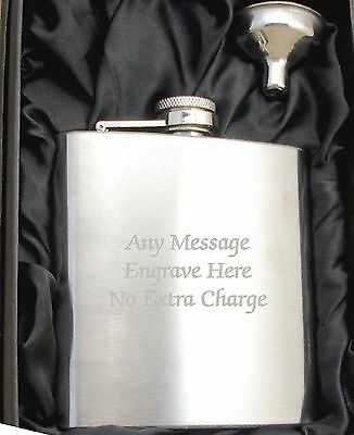 Engraved Personalised Stainless Steel 6oz Hip Flask,Funnel and Gift Box..