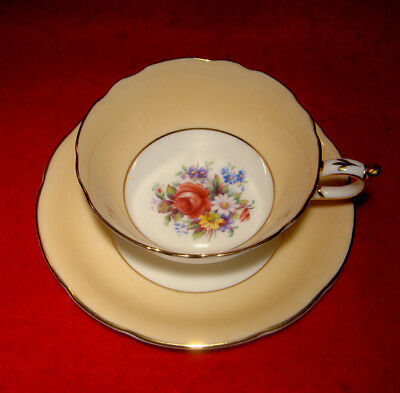 Vintage Paragon Peach Cup & Saucer Floral Pink Rose Gold Trim Made In England