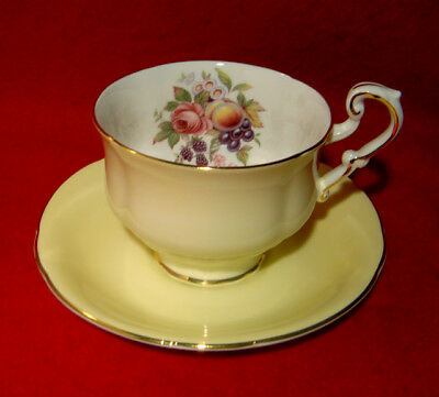 Paragon Pale Yellow Cup & Saucer Fruits & Rose Inside Gold Trim Made In England