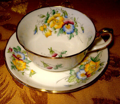 Hammersley Floral Tea Cup & Saucer Gold Trim Made In England